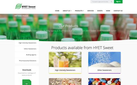 Screenshot of Products Page hyetsweet.com - Pharmaceutical Solutions & Sweetener Products | HYET Sweet - captured July 11, 2017