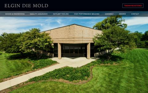 Screenshot of Home Page elgindiemold.com - Elgin Die Mold - A High-Quality Custom Thermoplastics Injection Molder - captured Sept. 27, 2018
