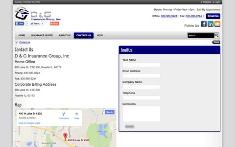 Screenshot of Hours Page dginsurancegroup.net - D & G Insurance Group, Inc. > Contact Us - captured Oct. 5, 2014