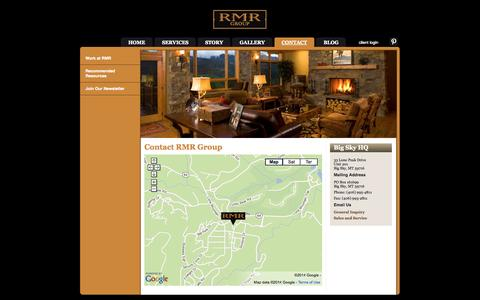 Screenshot of Contact Page rmrgroup.net - Montana Log Homes, Contracting and Owner Representation | RMR Group > Contact - captured Sept. 30, 2014