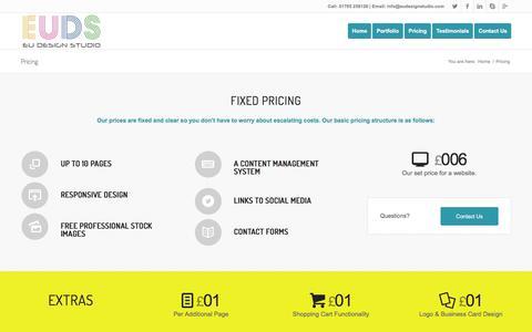 Screenshot of Pricing Page eudesignstudio.com - Pricing | EU Design Studio - captured Feb. 19, 2016
