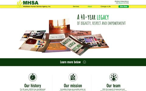 Screenshot of About Page mhsainc.org - MHSA | Our Story - captured Dec. 17, 2018