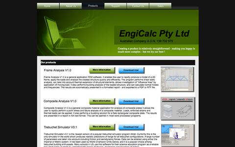 Screenshot of Products Page engicalc.com - Products  – Engineering, Analysis and Simulation Software, Free Download - captured Oct. 2, 2014