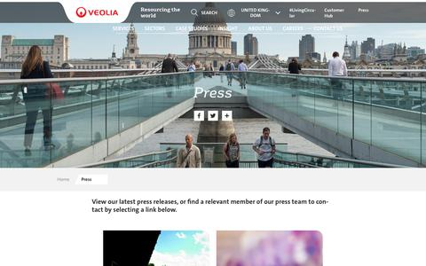 Screenshot of Press Page veolia.co.uk - Press | Veolia UK - captured May 11, 2019