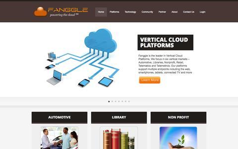 Screenshot of Home Page fanggle.com - Fanggle | Vertical Cloud Platforms - captured Jan. 21, 2015