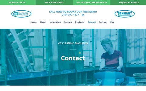 Screenshot of Contact Page gtcleaningmachines.co.uk - Contact - GT Cleaning - captured Sept. 26, 2018