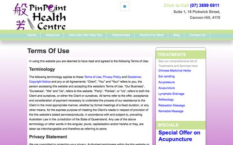 Screenshot of Terms Page pinpointhealth.com.au - Terms Of Use - captured Jan. 28, 2016
