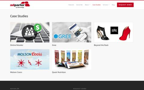 Screenshot of Case Studies Page adparlor.com - Case Studies |  AdParlor - captured Nov. 2, 2014
