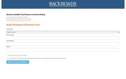 Screenshot of Landing Page backroads.com - MyBackroads - Detailed Itinerary - captured March 29, 2017