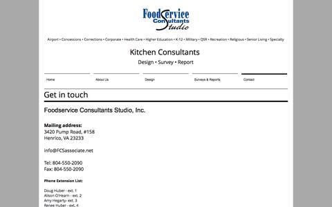 Screenshot of Contact Page foodserviceconsultantsstudio.com - Institutional & Commercial Kitchen Designers - captured Aug. 19, 2018