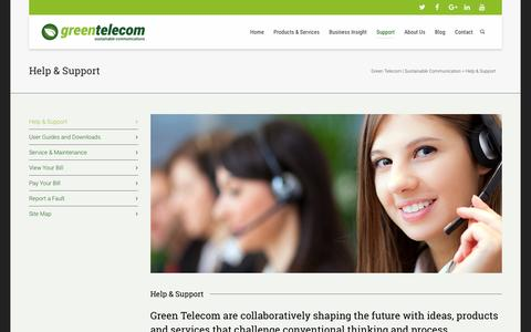 Screenshot of Support Page greentelecom.co.uk - Help & Support | Green Telecom | Sustainable Communication - captured Nov. 13, 2016