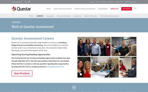 Screenshot of Jobs Page questarai.com - Questar Assessment Careers   Questar Assessment - captured Feb. 2, 2016