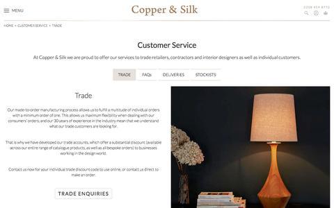 Screenshot of Support Page copperandsilk.com - Trade - captured Nov. 12, 2016