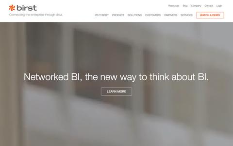 Screenshot of Home Page birst.com - Business Intelligence Tools, Cloud BI and Analytics - Birst - captured Jan. 18, 2016