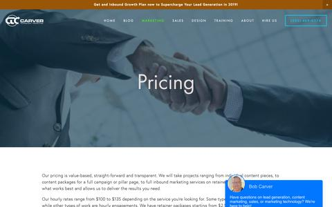 Screenshot of Pricing Page carvertc.com - Pricing — CarverTC - captured Feb. 15, 2019