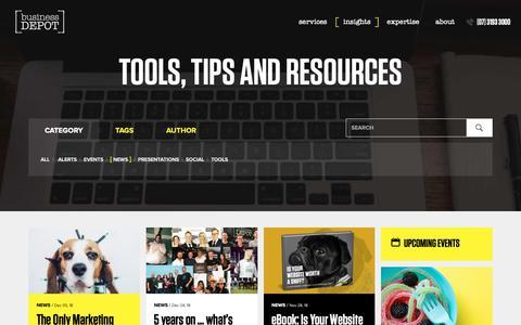 Screenshot of Press Page businessdepot.com.au - Insights | businessDEPOT - captured Dec. 9, 2018