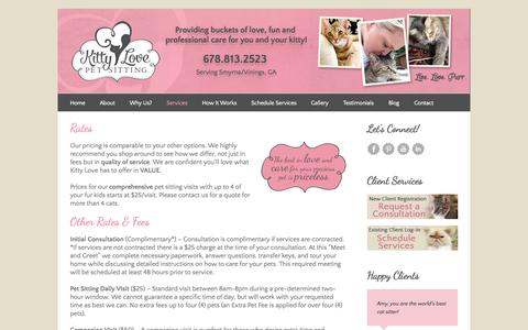 Screenshot of Pricing Page kittylovepetsitting.com - Kitty Love Pet Sitting Rates - Kitty Love Pet Sitting - captured Sept. 30, 2014