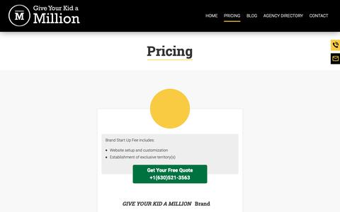 Screenshot of Pricing Page gykam.com - Insurance Agency Marketing Package | Oak Brook, Illinois | Give Your Kid A Million - captured Sept. 26, 2018