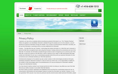 Screenshot of Privacy Page merchantscanada.com - Merchants Canada - Canadian vendor of quality computer hardware, Networking equipment, Server parts, and Apple products - captured Oct. 18, 2017
