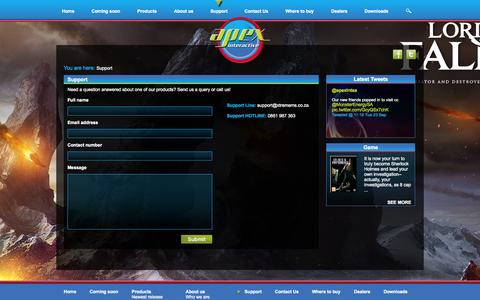 Screenshot of Support Page apexinteractive.co.za - .:Support:. Apex Interactive - captured Sept. 30, 2014