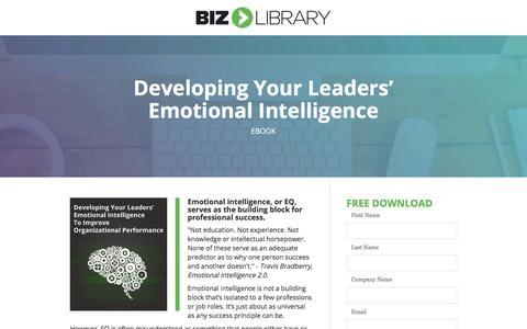 Screenshot of Landing Page bizlibrary.com - Emotional Intelligence Toolkit for Managers [eBook] - captured June 30, 2017