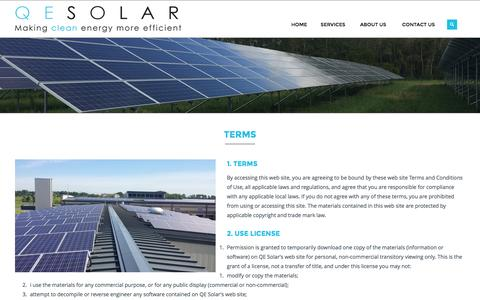 Screenshot of Terms Page qesolar.com - Terms | QE Solar LLC - captured July 9, 2016