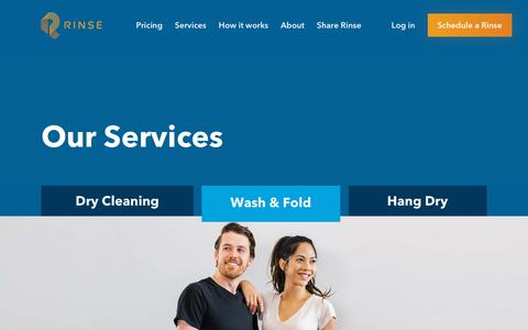Screenshot of Services Page rinse.com - Rinse - Services - captured Oct. 29, 2018