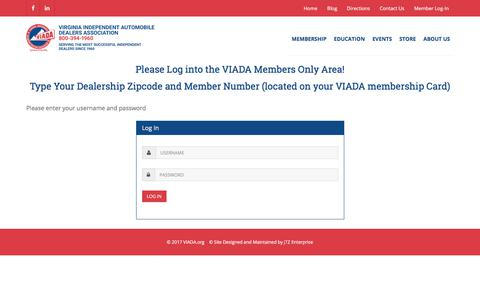 Screenshot of Login Page viada.org - Virginia Independent Automobile Dealer Association, Join Us! - captured Oct. 21, 2017