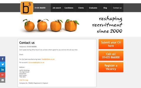Screenshot of Contact Page b3jobs.co.uk - Contact details for b3 jobs | FMCG food jobs recruiter - captured Oct. 7, 2018