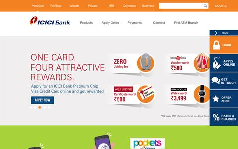 Screenshot of Home Page icicibank.com - Personal Banking, Online Banking Services - ICICI Bank - captured Dec. 1, 2015