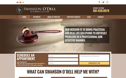 Screenshot of Home Page swansonodell.com - Swanson O'Dell | Attorneys at Law - captured Aug. 2, 2015