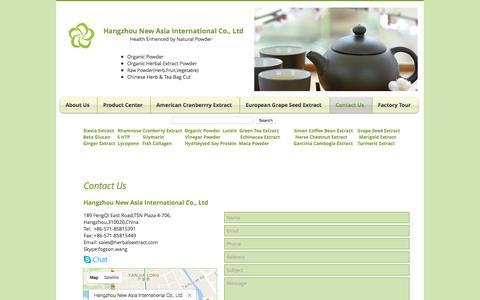 Screenshot of Contact Page herbalsextract.com - Contact us| Rhamnose | Hangzhou New Asia International Co., Ltd - captured Oct. 24, 2016
