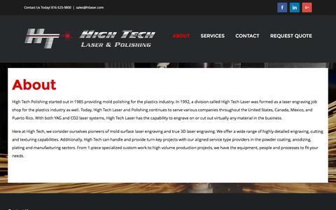 Screenshot of About Page htlaser.com - About - HT Laser - captured Nov. 8, 2016