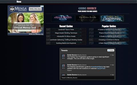 Screenshot of Home Page guide-source.com - Guide-Source | Your Source For MMO Guides - captured Sept. 24, 2014