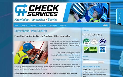 Screenshot of Home Page checkservices.co.uk - Check Services (Pest control)   Commercial Pest Control - captured Oct. 2, 2014
