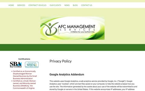 Screenshot of Privacy Page afmsco.com - Privacy Policy - AFC Management Services - captured Oct. 6, 2017