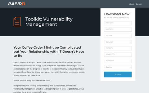 Screenshot of Landing Page rapid7.com - Vulnerability Management Toolkit | Rapid7 - captured Jan. 12, 2018