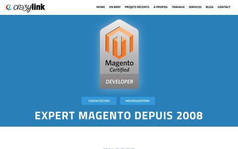 Screenshot of Home Page crazy-link.com - Crazy-link - Développeur Magento / Prestashop - captured Oct. 15, 2015
