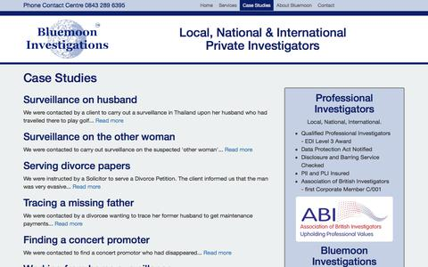 Screenshot of Case Studies Page bluemooninvestigations.co.uk - Case Studies from Bluemoon Investigations, Private Investigator and Detective, Solicitors and Enquiry Agent, UK - captured June 2, 2017
