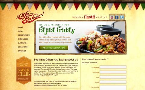 Screenshot of Testimonials Page cafesabor.com - Testimonials   Cafe Sabor - captured Sept. 26, 2014