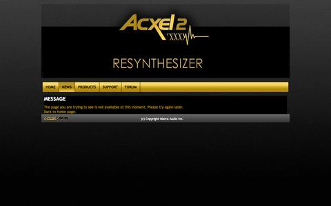 Screenshot of Press Page acxel2.com - Acxel2 ...the formula 1 of synthesizer - captured Oct. 4, 2014