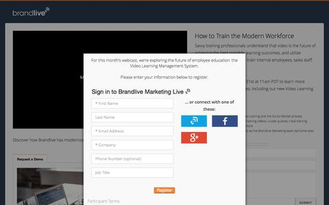 Screenshot of Signup Page yourbrandlive.com - Brandlive Marketing / How to Train the Modern Workforce - captured May 21, 2017