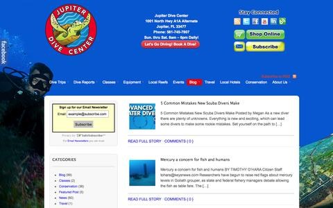 Screenshot of Blog jupiterdivecenter.com - Blog Jupiter Dive Center - captured Sept. 22, 2014