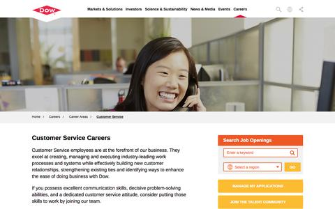 Screenshot of Support Page dow.com - Customer Service Careers | Dow - captured Nov. 16, 2015