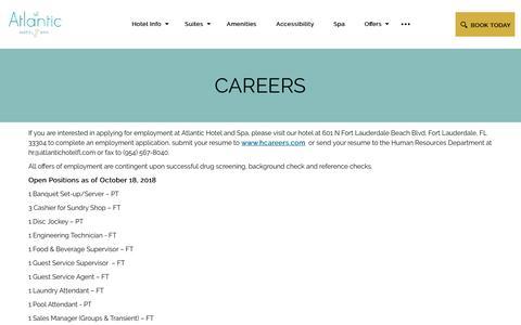 Screenshot of Jobs Page atlantichotelfl.com - Hotel Jobs in Fort Lauderdale | The Atlantic Hotel & Spa - captured Nov. 9, 2018