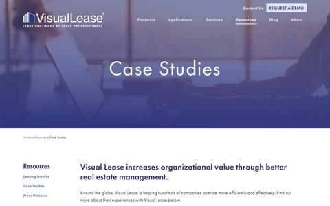 Screenshot of Case Studies Page visuallease.com - Case Studies - captured Sept. 20, 2018