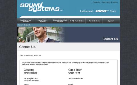 Screenshot of Support Page soundimports.co.za - Contact Us - captured Nov. 4, 2014