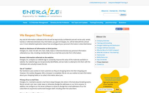 Screenshot of Privacy Page energizeinc.com - We Respect Your Privacy! | Energize: Volunteer Management Resources for Directors of Volunteers - captured July 19, 2018