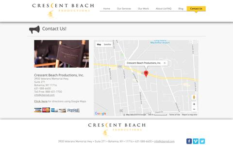Screenshot of Contact Page Maps & Directions Page cbprod.com - Crescent Beach Productions - Long Island Video Production Company   Contact Us - captured Sept. 30, 2018
