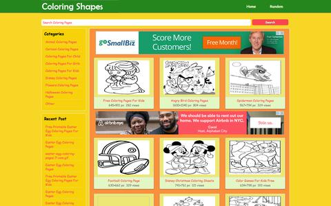 Screenshot of Home Page coloringshapes.com - Online Coloring Book Pages, Shapes Coloring Pages, Printable Coloring Pages   www.coloringshapes.com - captured Sept. 23, 2014